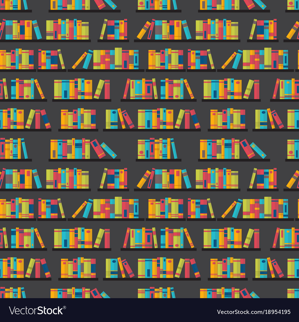 Seamless Pattern With Books On Bookshelves Flat Vector Image