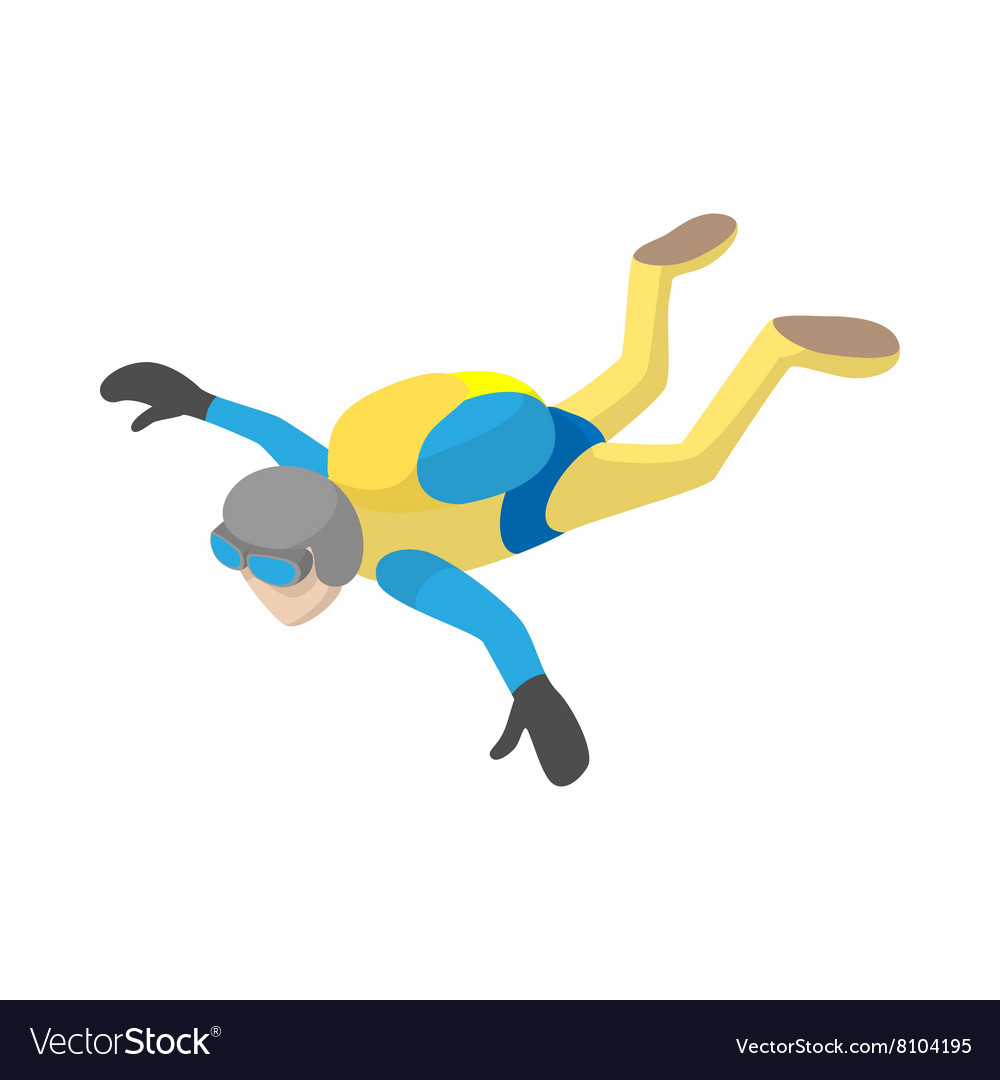 Skydiver in freefall icon cartoon style vector image