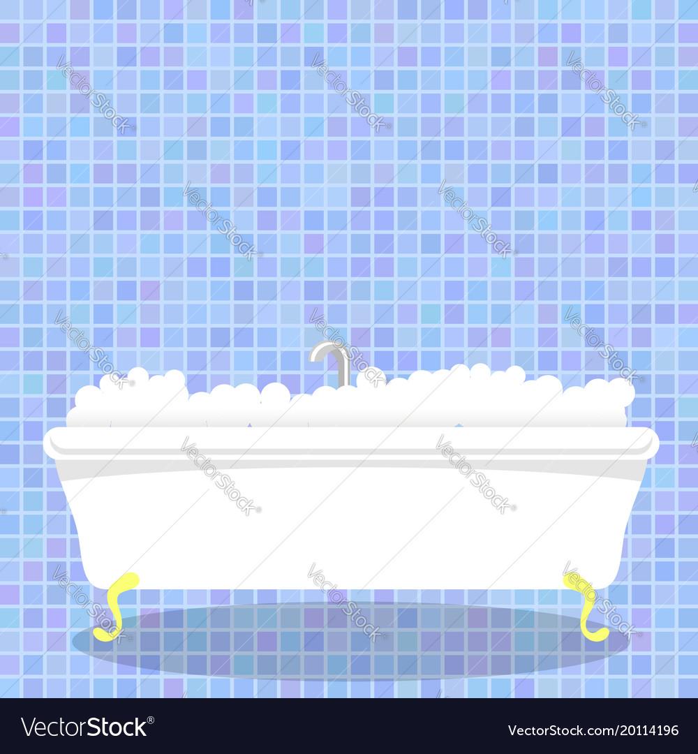 Retro white bathtub with foam on blue mosaic wall Vector Image