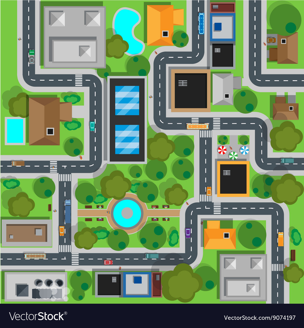 Map of City Top View Design Flat vector image
