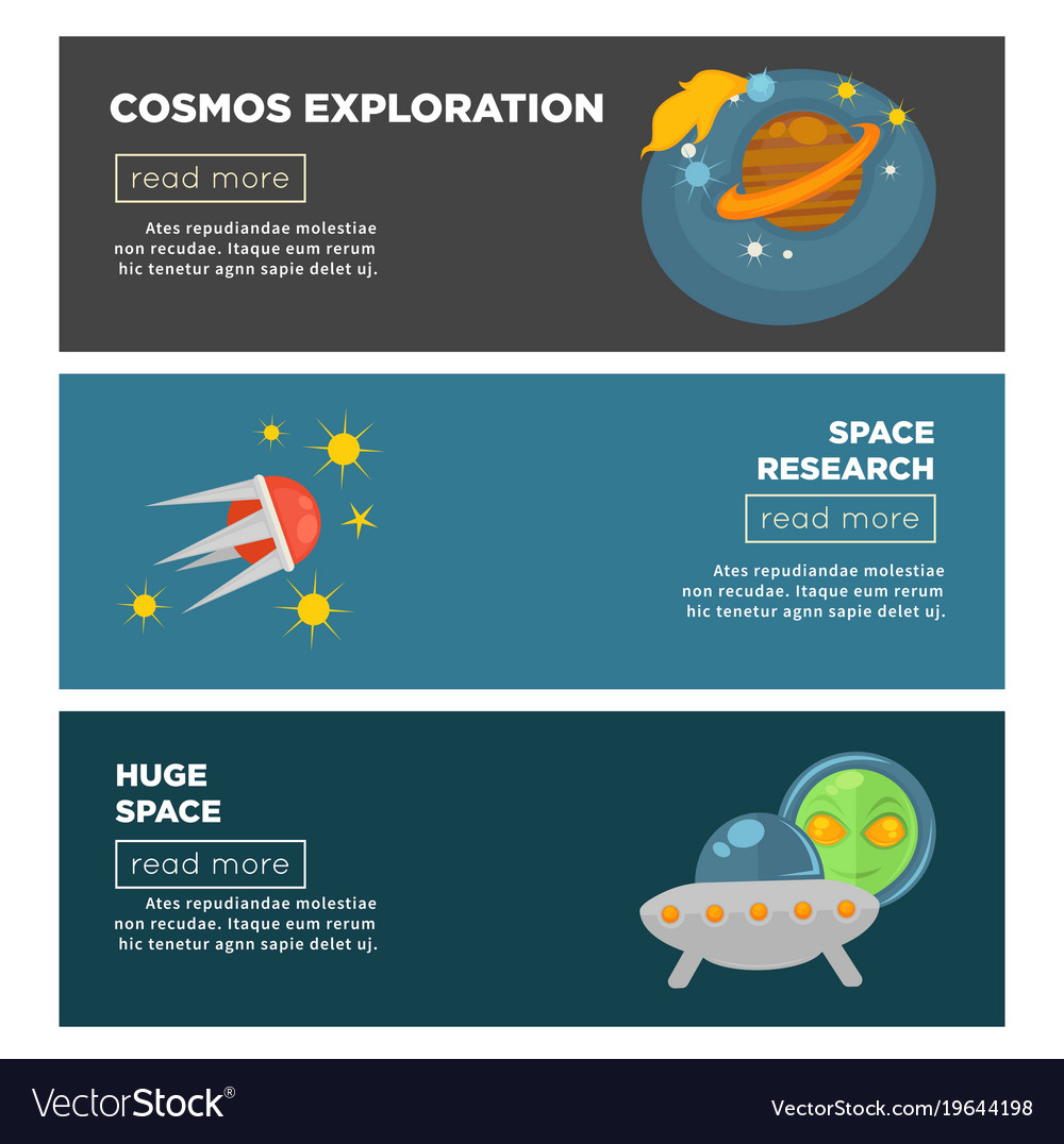 Cosmos exploration and galaxy space research flat vector image