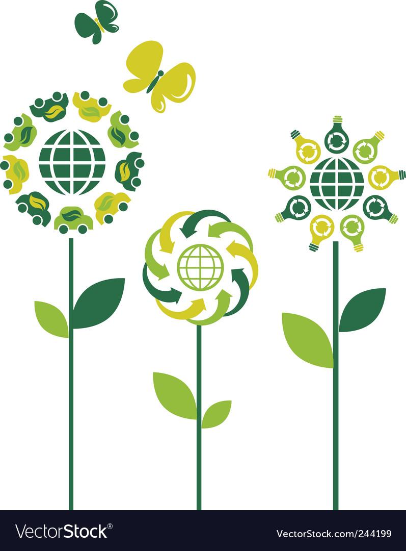 Environmental flowers vector image