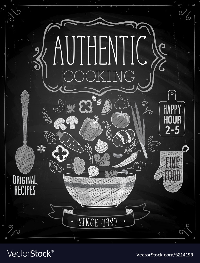 Authentic cooking poster vector image