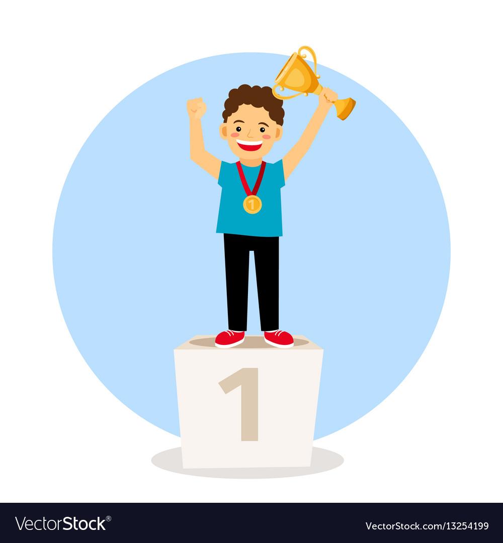 Child young winner podium vector image
