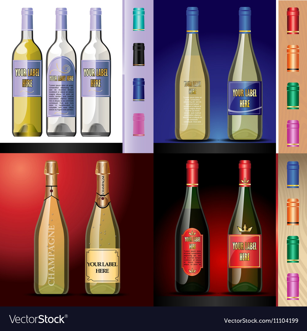 Wine bottles mockup with your label here vector image