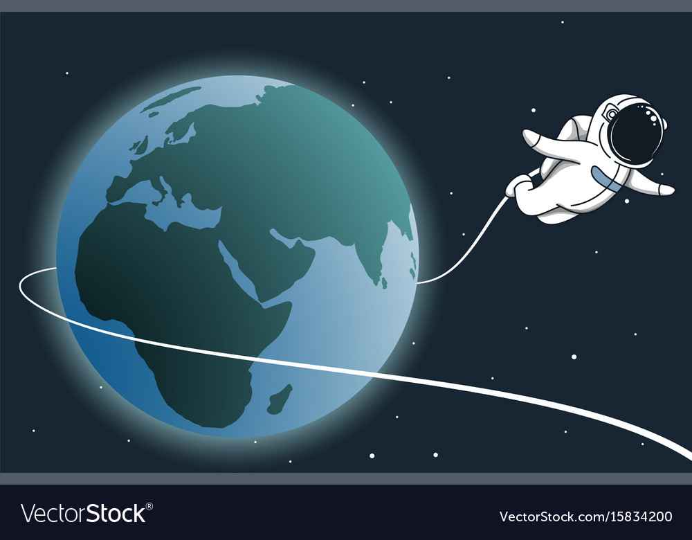 Astronaut flying around the earth vector image