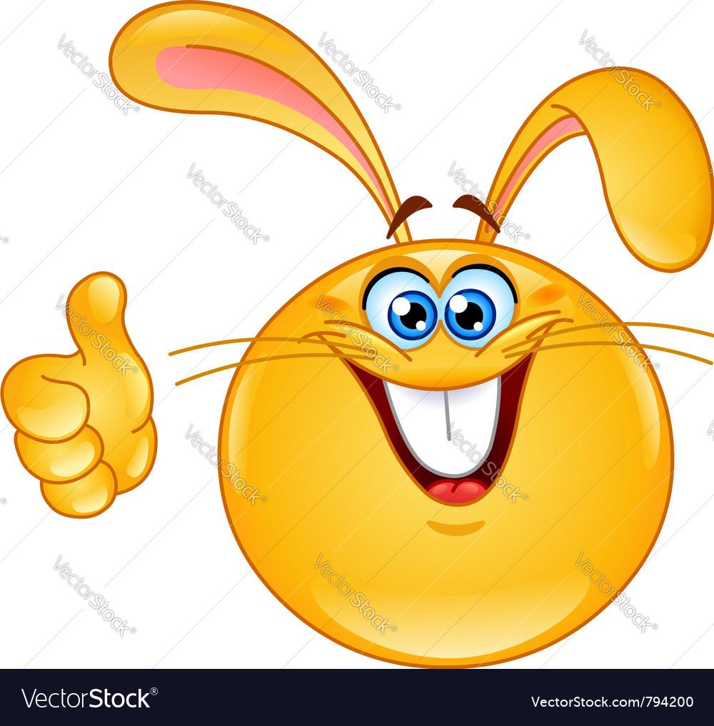 Bunny emoticon vector image