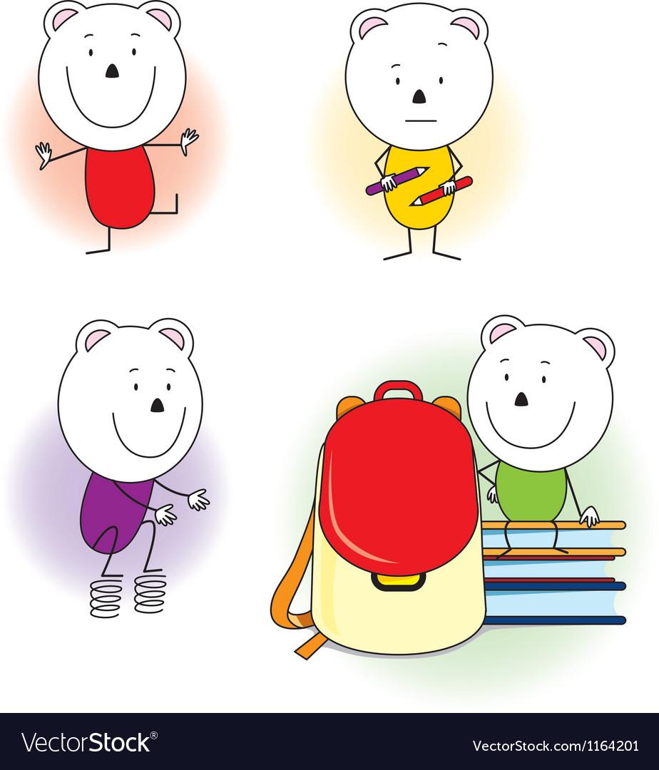 Bear at school vector image