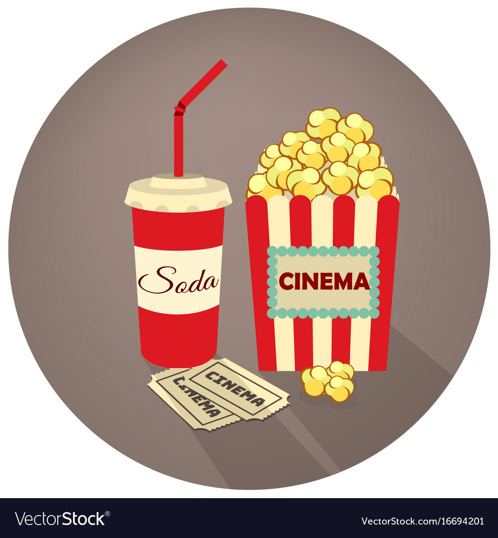 Popcorn soda takeaway and movie tickets vector image