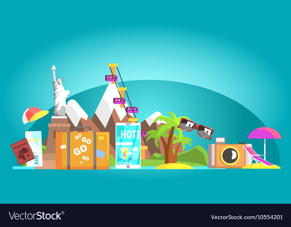 Travelling Attributes Composition On Blue vector image