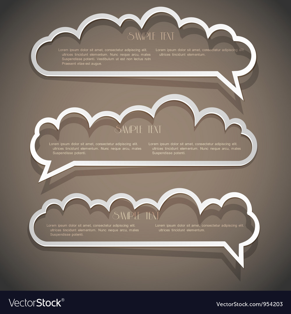 Three speech bubbles from paper Vector Image