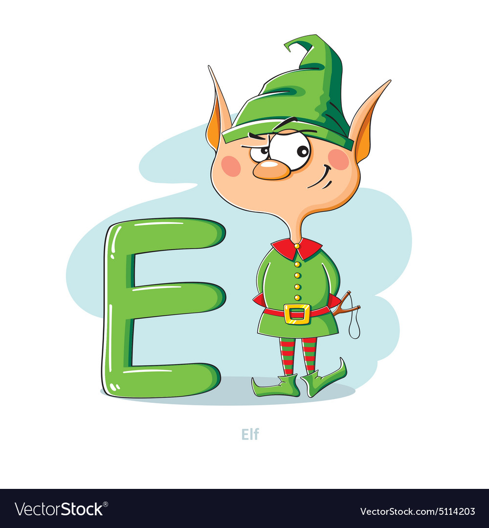 Cartoons alphabet letter e with funny elf vector image altavistaventures Image collections