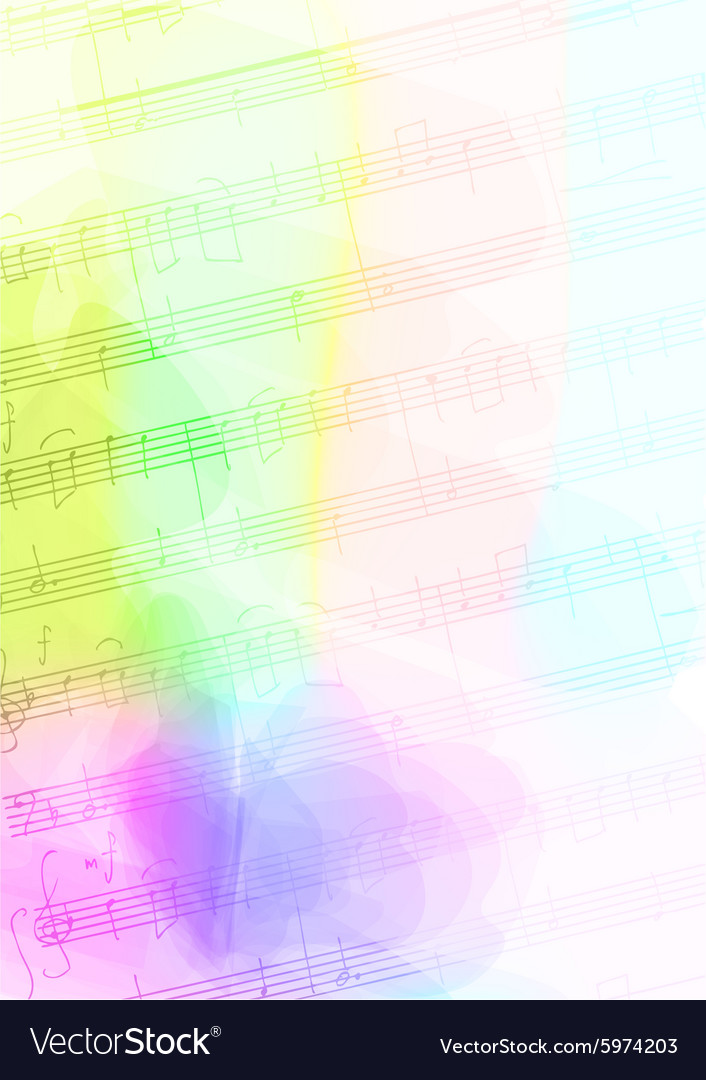 Colour Background with handmade musical notes vector image