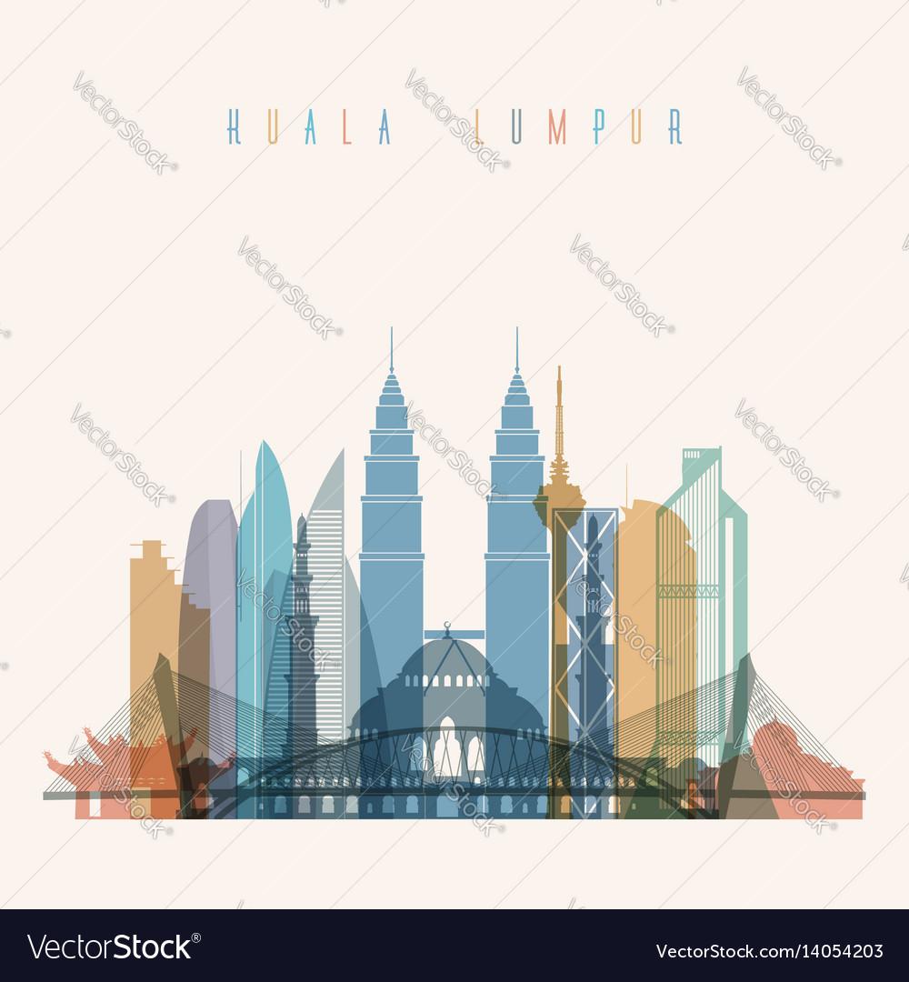 Kuala lumpur skyline detailed silhouette vector image