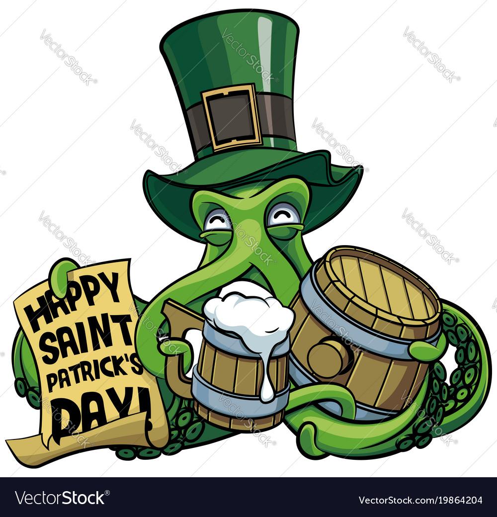 Octopus celebrating patricks day vector image