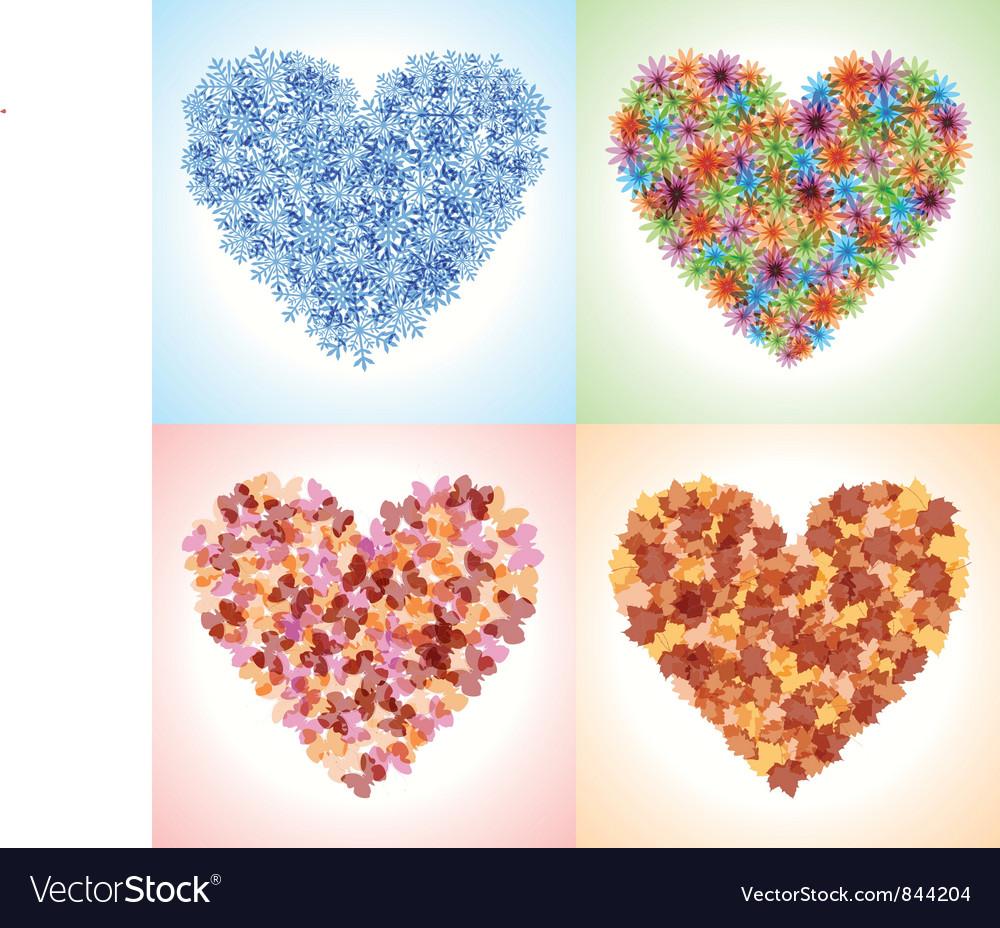 Season hearts vector image