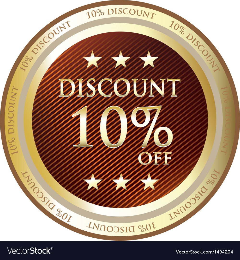 Ten Percent Discount Gold Medal vector image