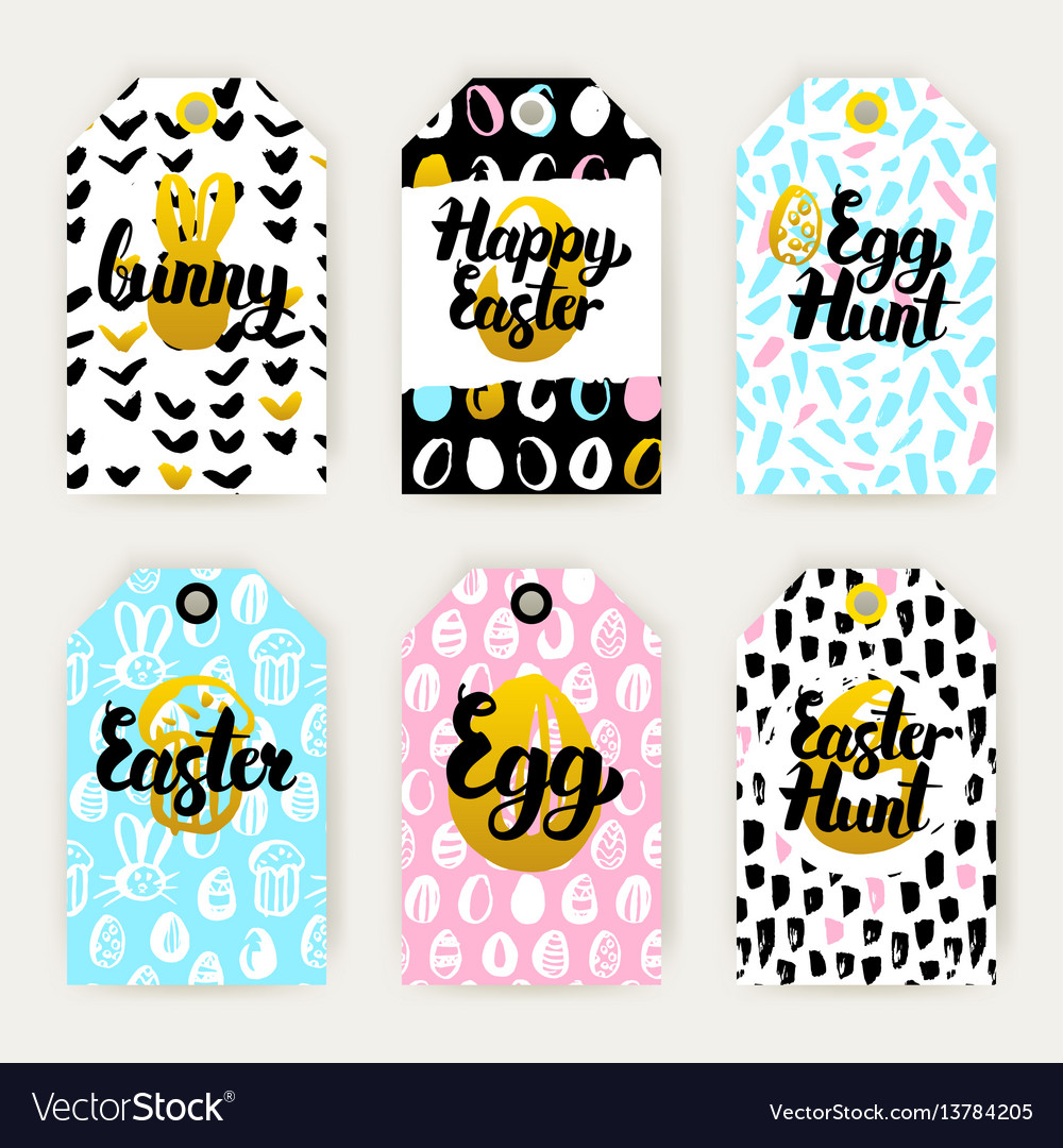 Trendy happy easter gift labels royalty free vector image trendy happy easter gift labels vector image negle