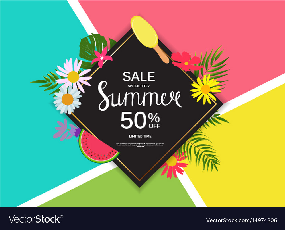 Summer sale abstract background vector image