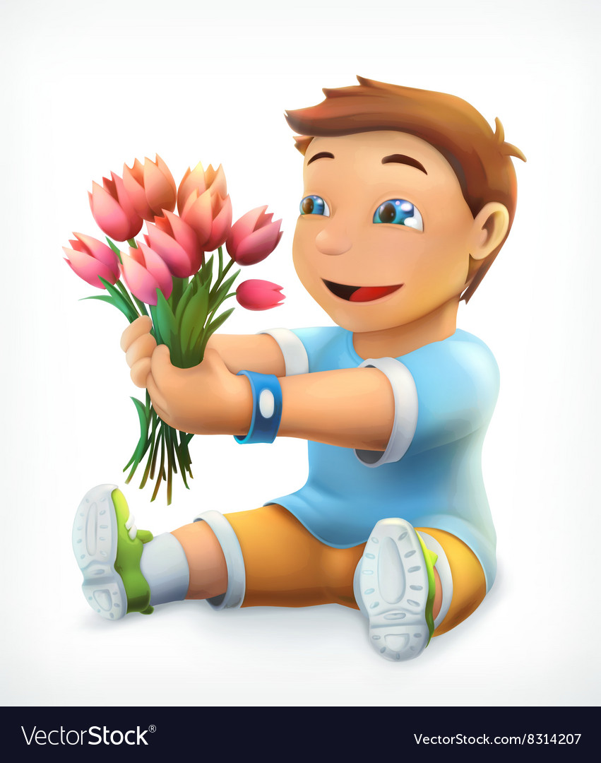 Little boy with bouquet of flowers vector image