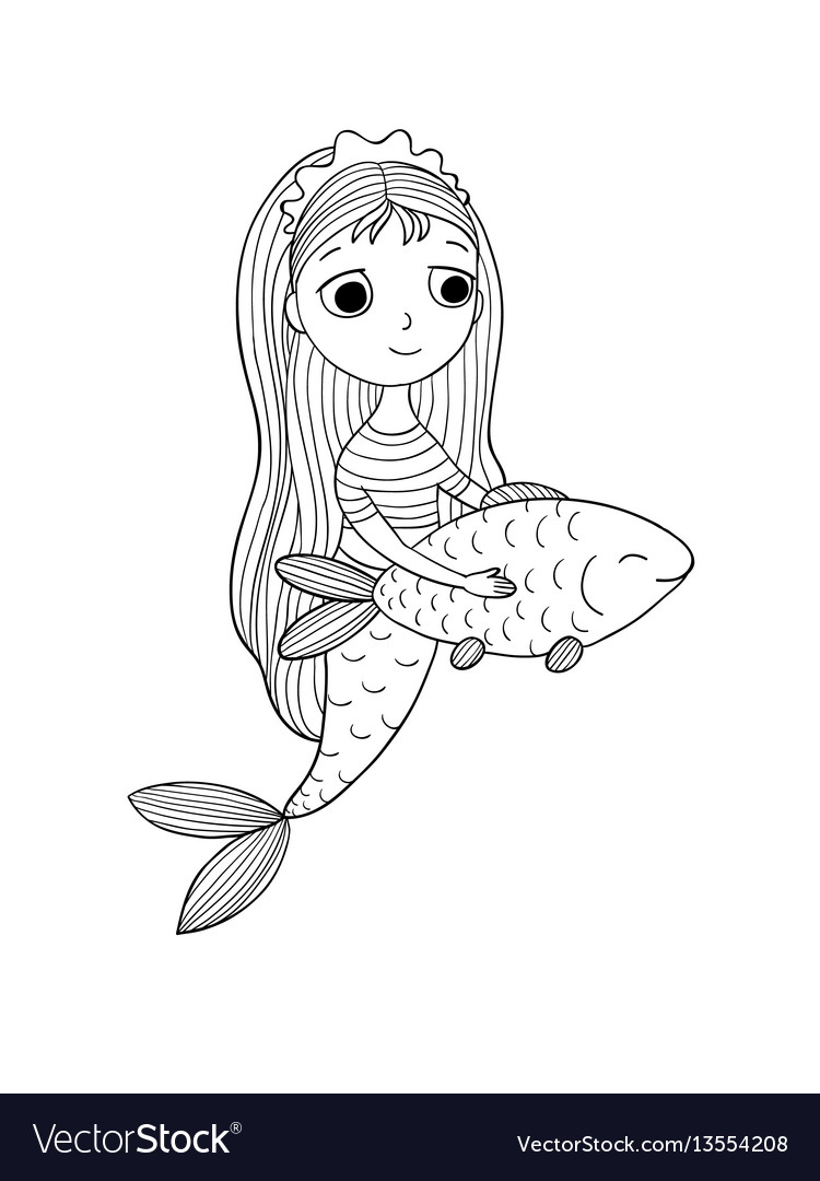 Beautiful little mermaid and fish siren vector image