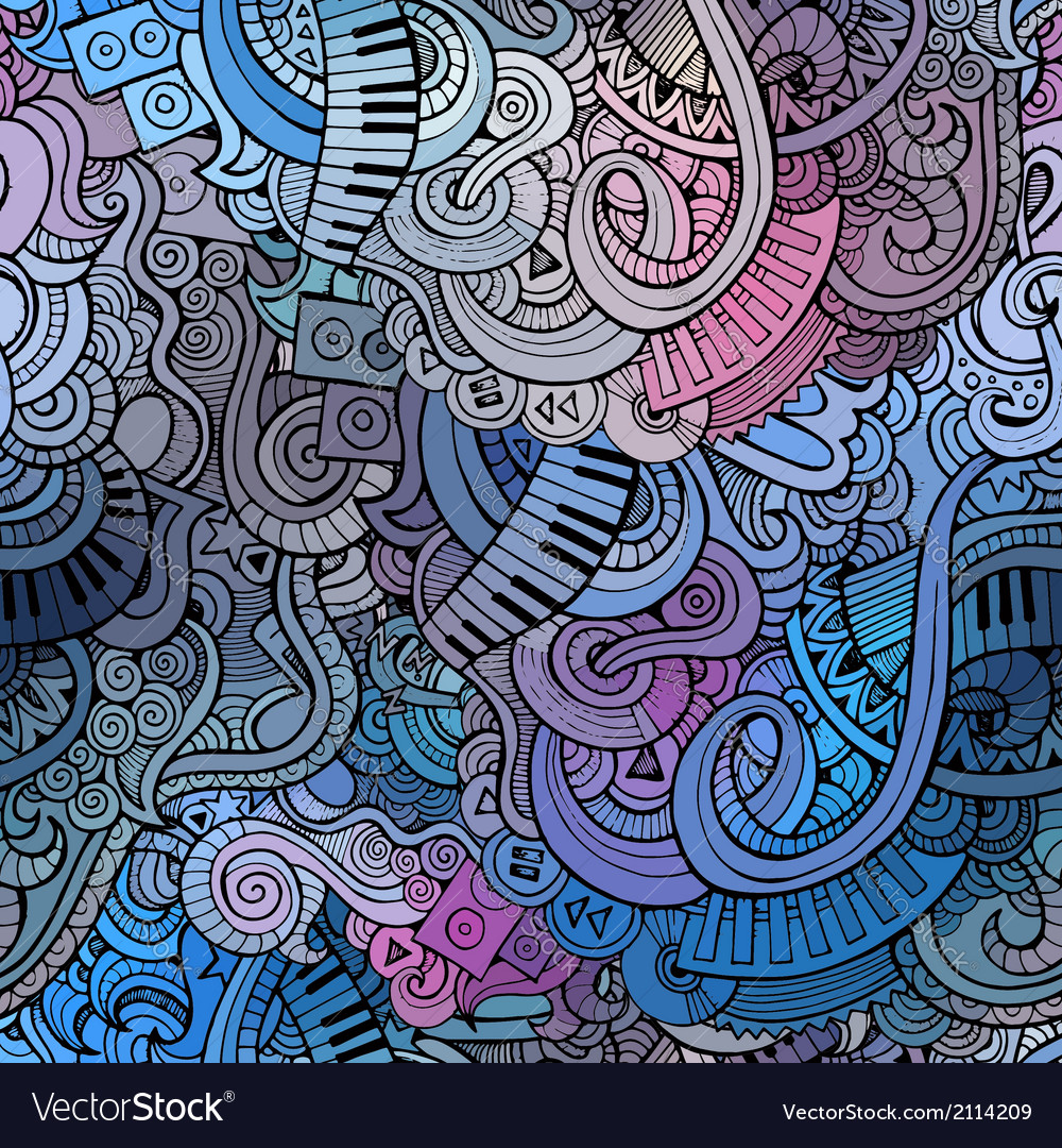 Abstract decorative doodles music seamless pattern vector image