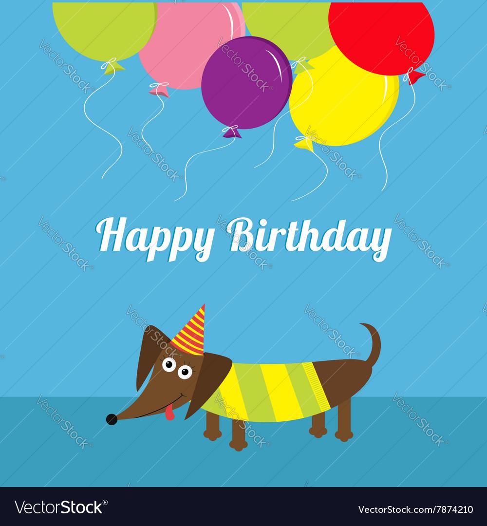 Dachshund dog Striped shirt Cute cartoon vector image