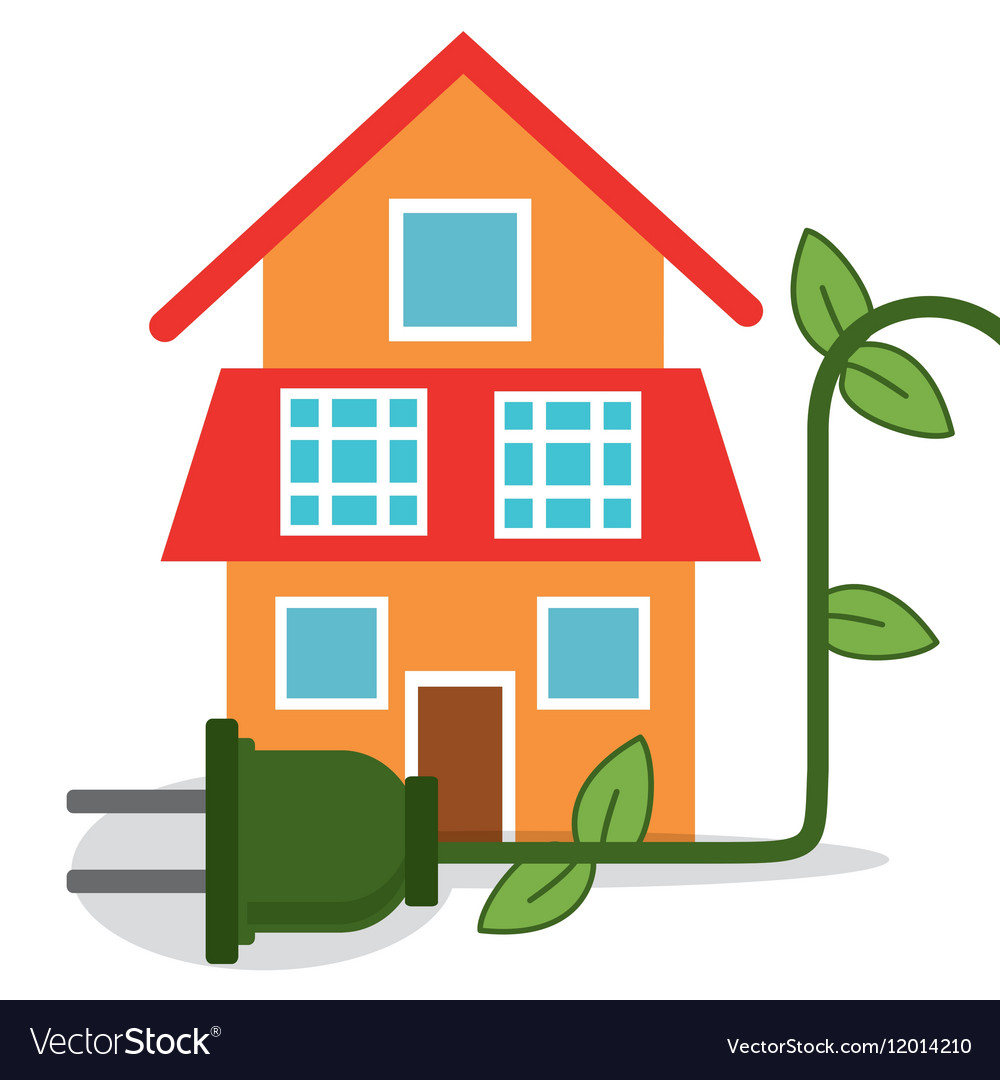 Lovely Ecology House Home Energy Vector Image