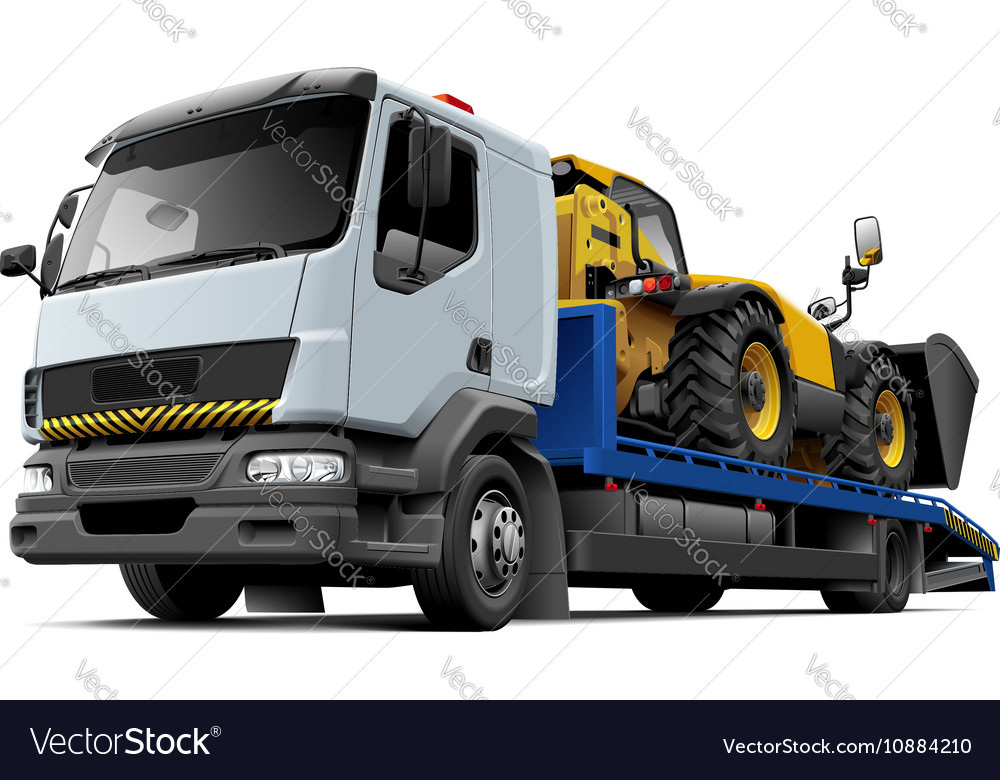 Flatbed recovery vehicle with telescopic handler vector image