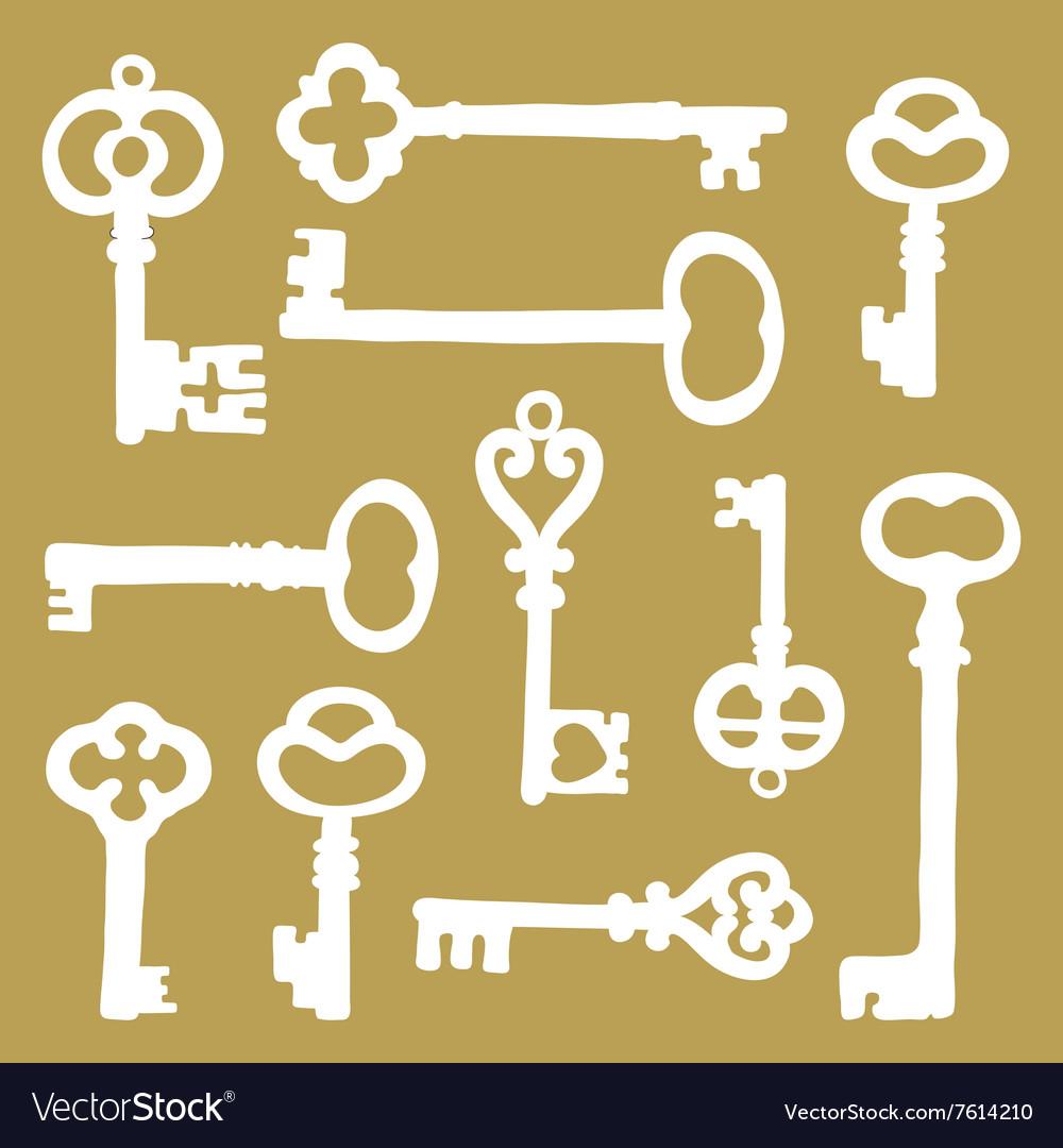 Hand drawn vintage keys collection vector image
