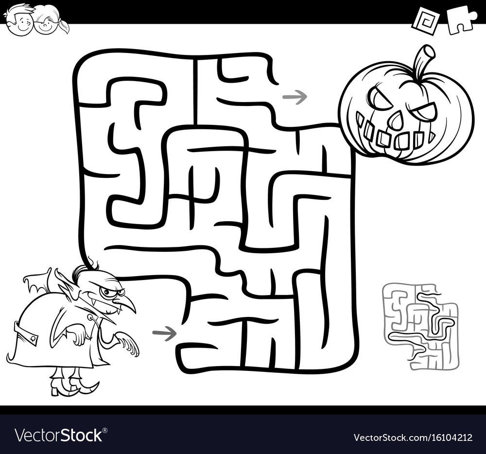 Halloween maze activity for coloring Royalty Free Vector