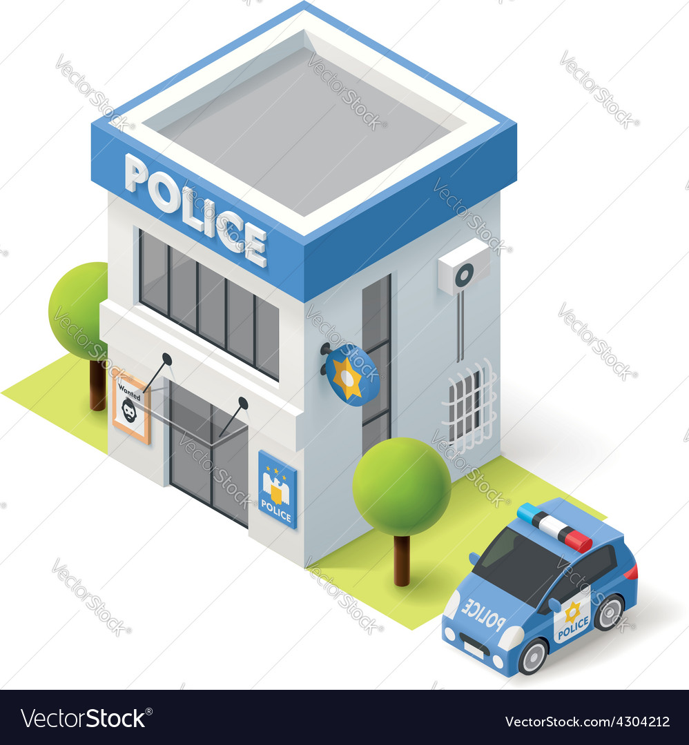 Isometric police department vector image
