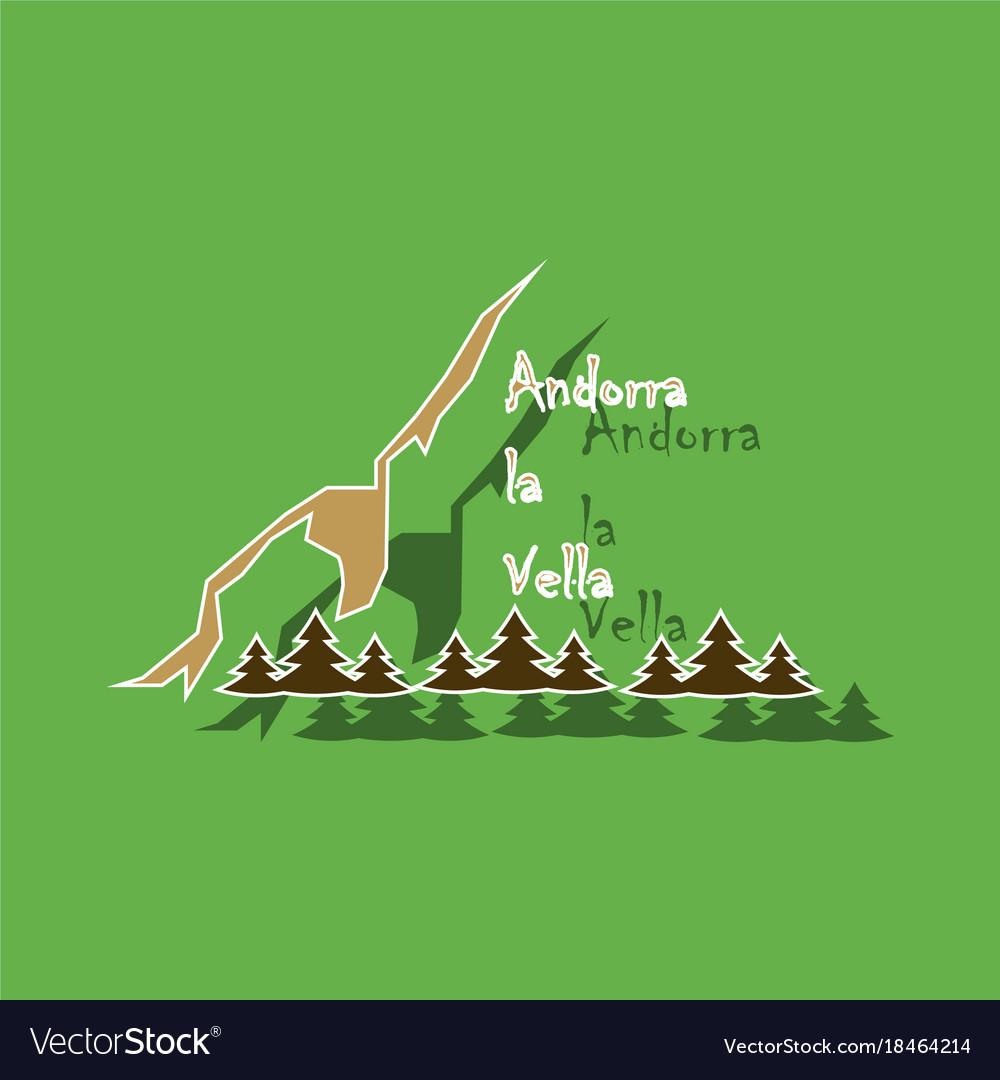 Paper sticker on theme of andorra logo mountains
