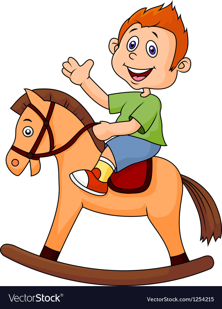a cartoon boy riding a horse toy royalty free vector image