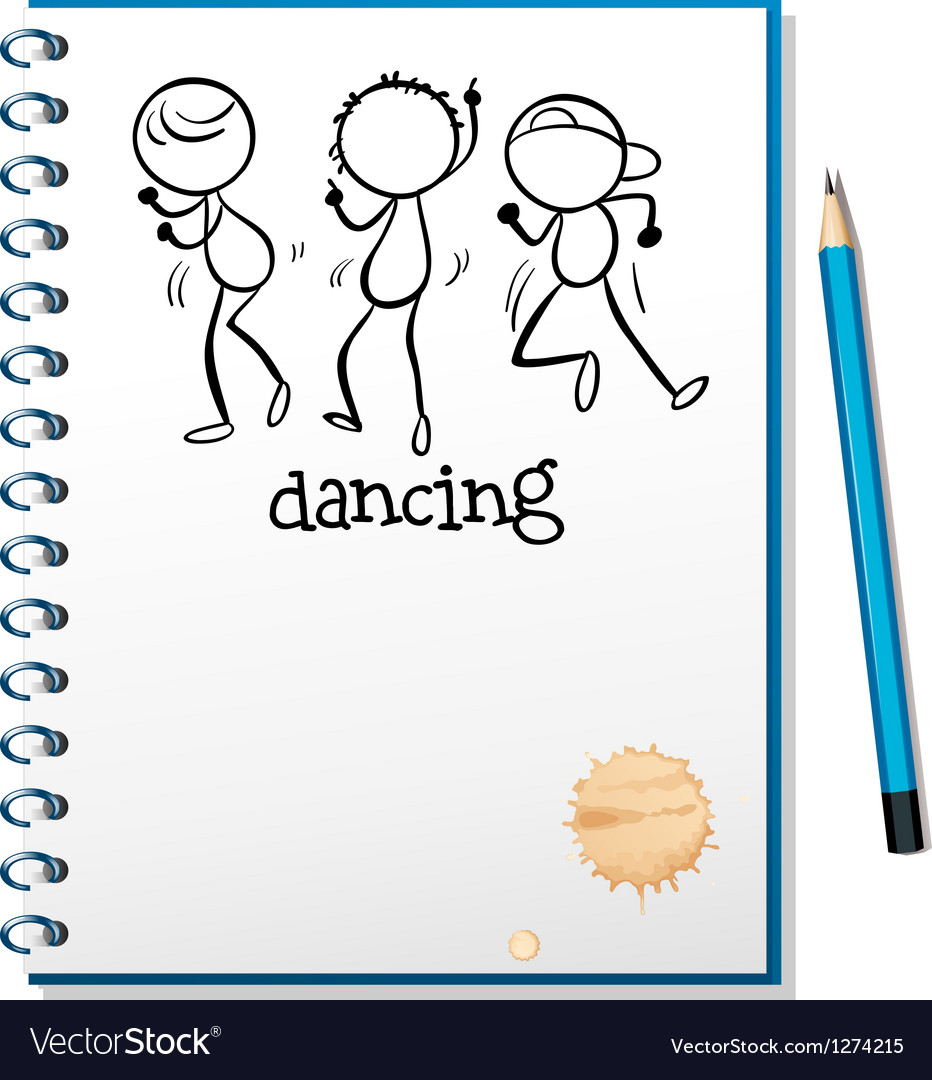 A notebook with a sketch of three people dancing vector image