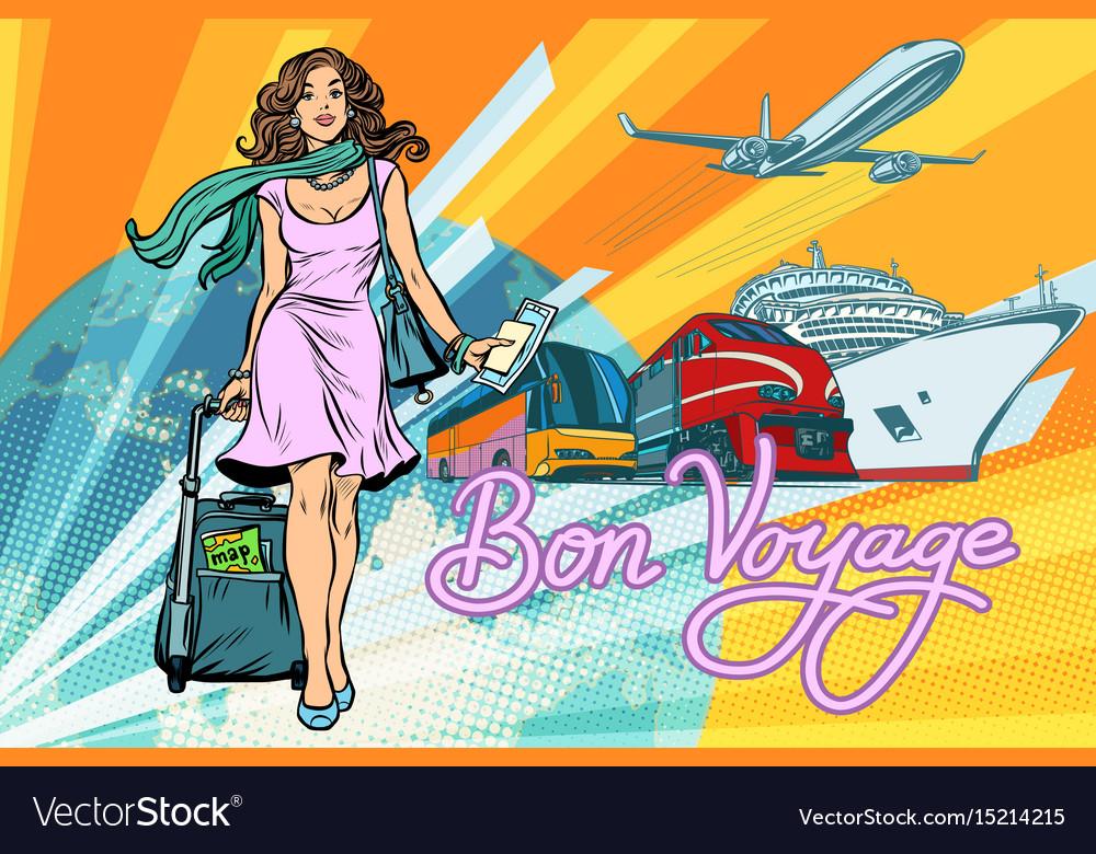 Beautiful woman passenger tourist bus train cruise vector image