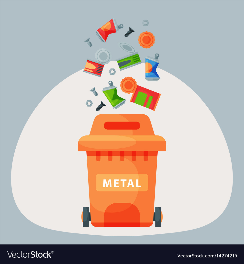 Recycling garbage metal elements trash bags tires vector image