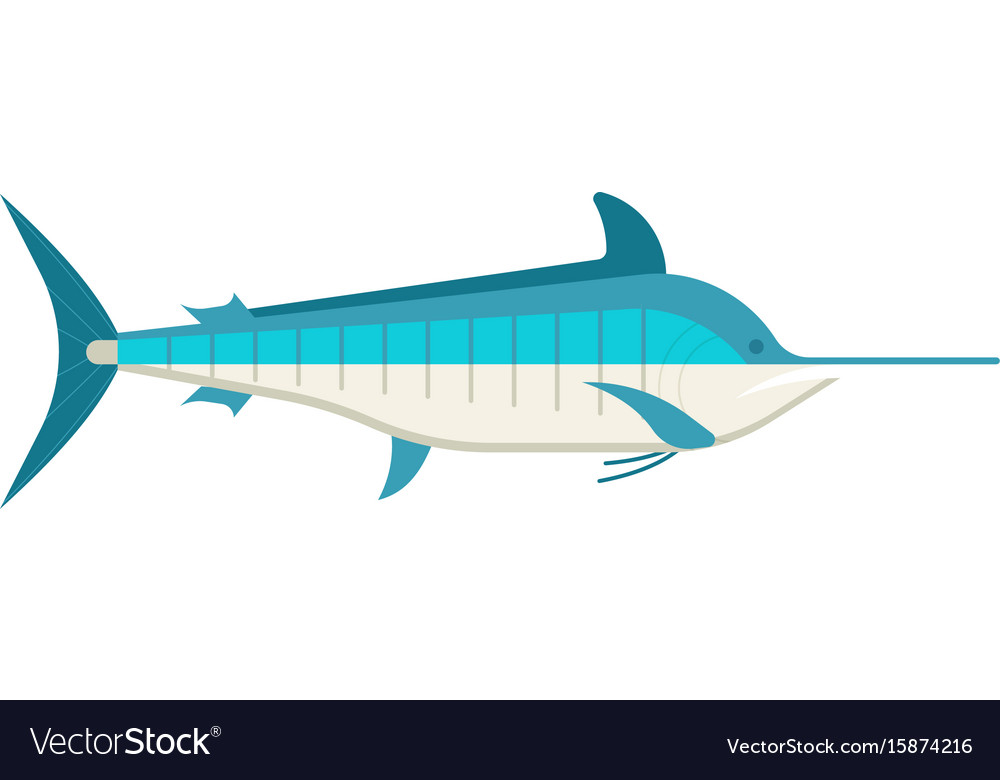 Cartoon swordfish or marlin icon vector image