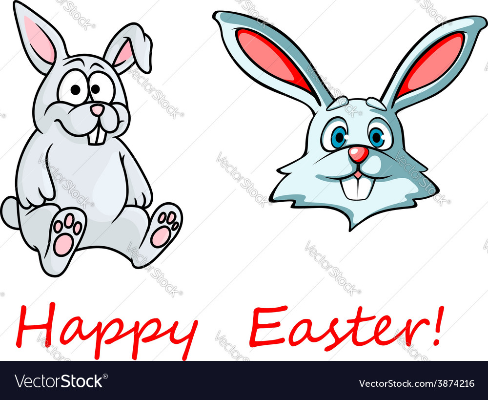 Happy Easter card with easter bunnies vector image