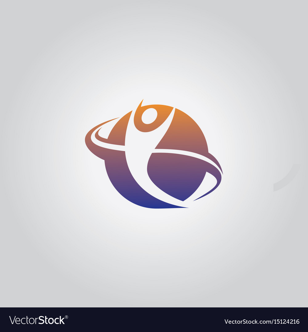 Round happy man logo vector image