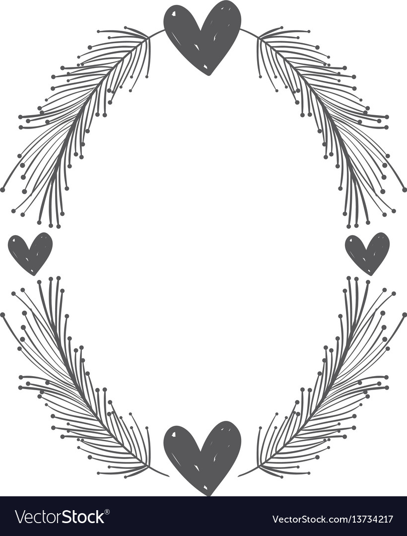 Rustic feathers with hearts decoration vector image