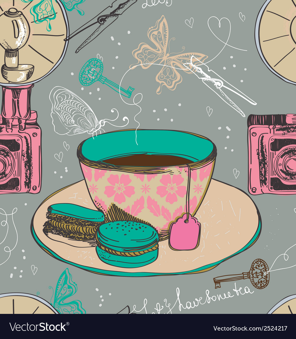 Vintage tea time background seamless pattern vector image