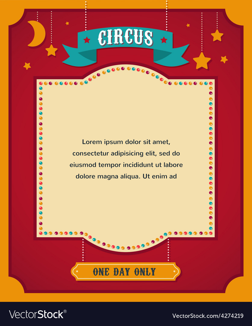 Vintage circus poster background with carnival vector image
