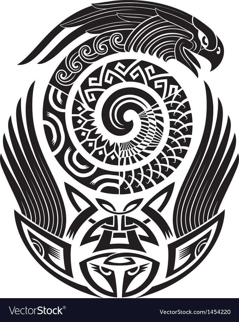 Snake-bird tattoo pattern vector image