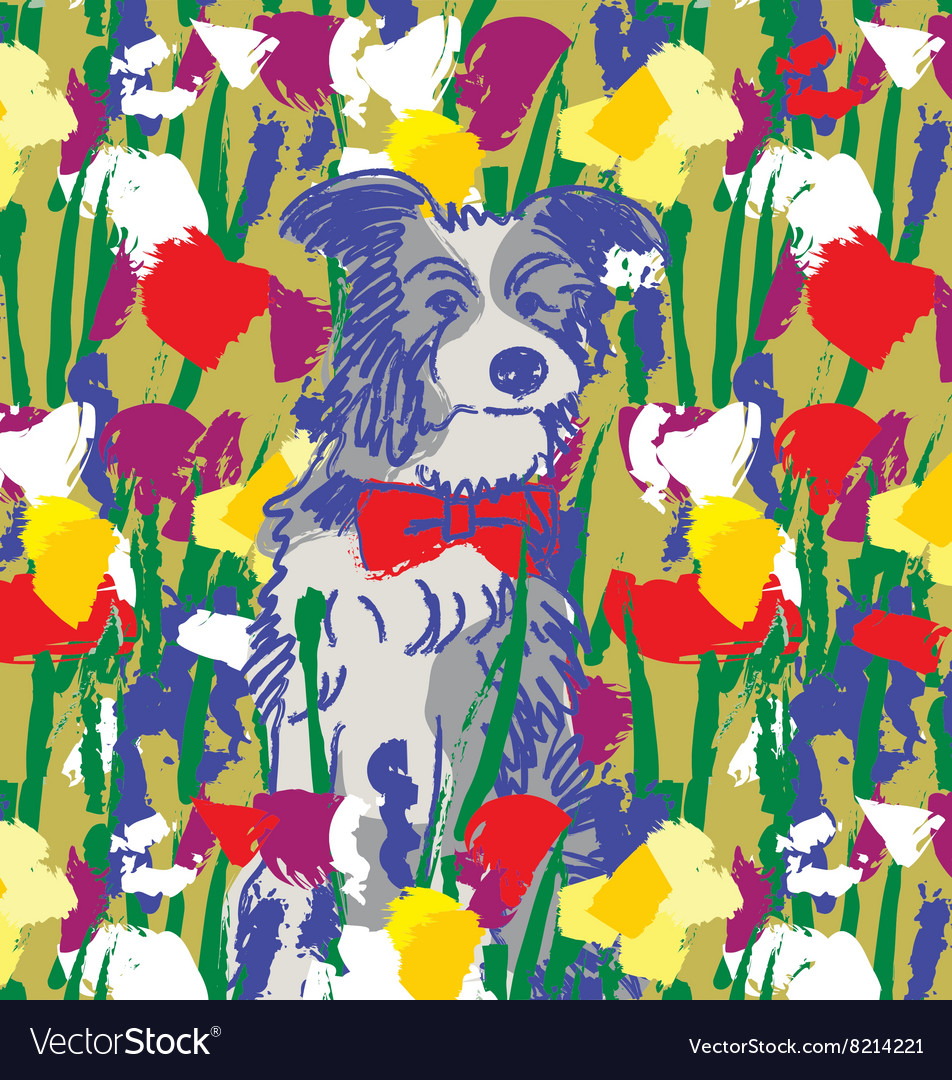 Dog in flowers happy animal nature vector image