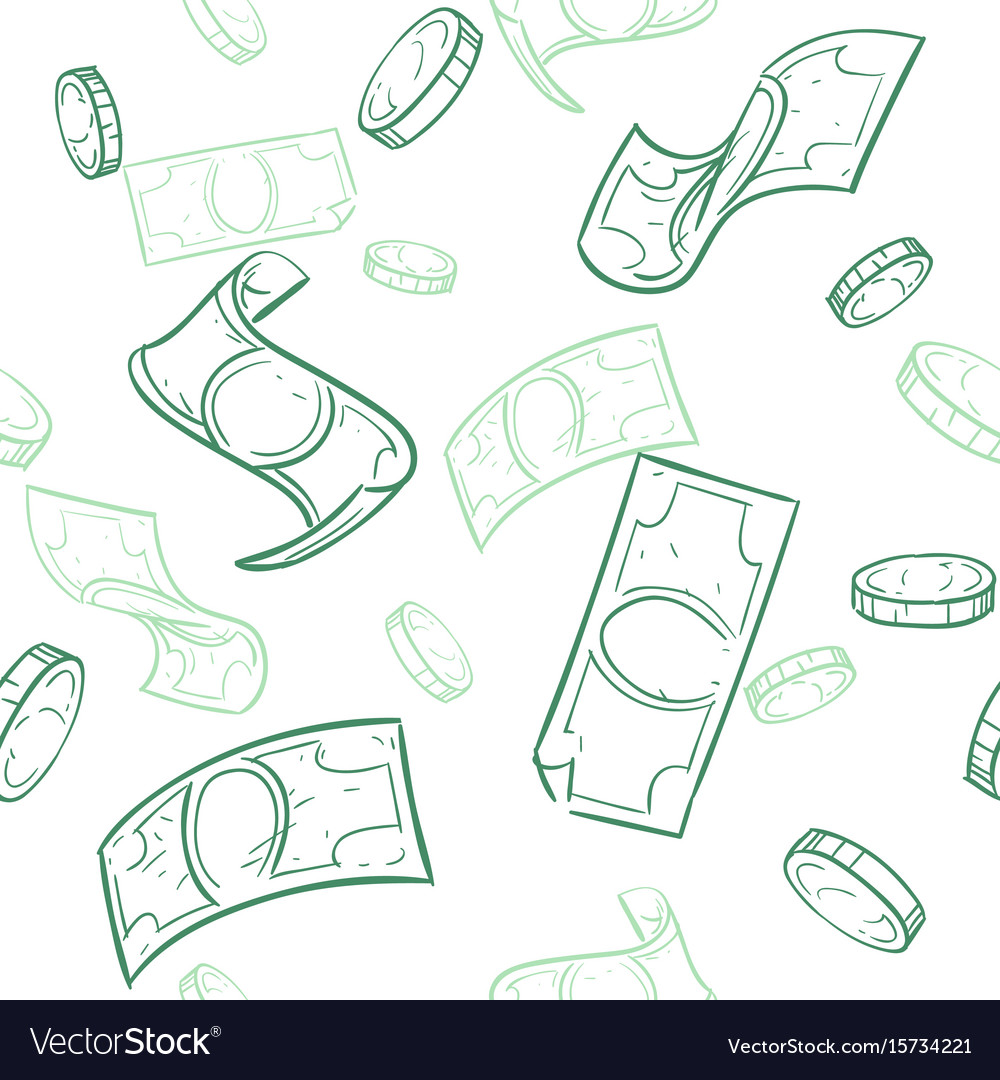 Doodle cash flow raining money seamless vector image