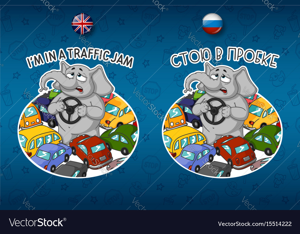 Sticker elephant traffic jam lot of cars vector image