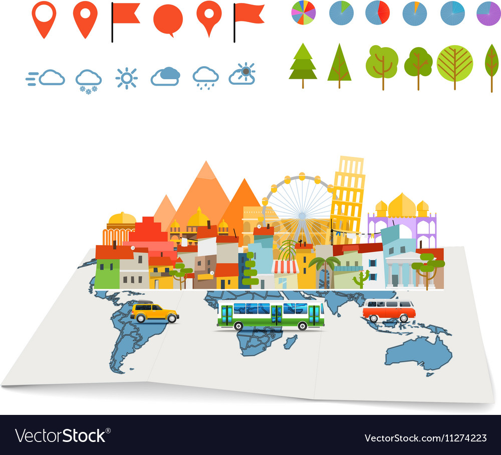 Earth maps map and different buildings and vector image