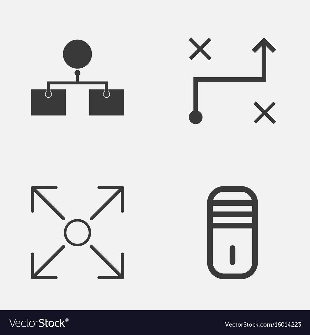 Machine icons set collection of branching program vector image
