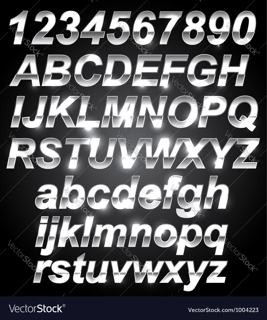 Silver Metal Font vector image